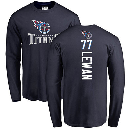 Tennessee Titans Men Navy Blue Taylor Lewan Backer NFL Football 77 Long Sleeve T Shirt