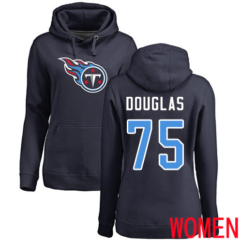 Tennessee Titans Navy Blue Women Jamil Douglas Name and Number Logo NFL Football 75 Pullover Hoodie Sweatshirts