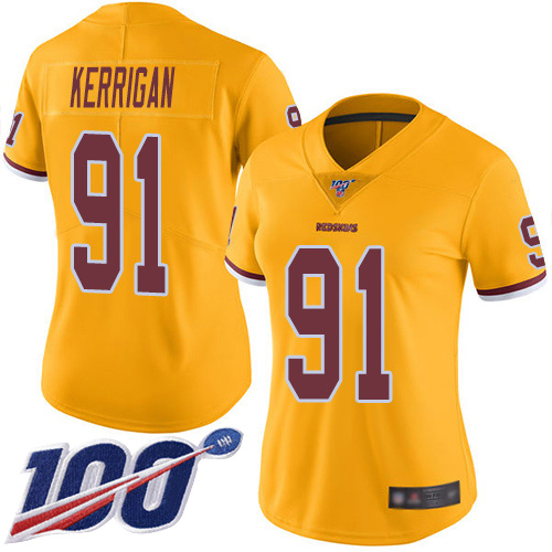 Washington Redskins Limited Gold Women Ryan Kerrigan Jersey NFL Football 91 100th Season Rush