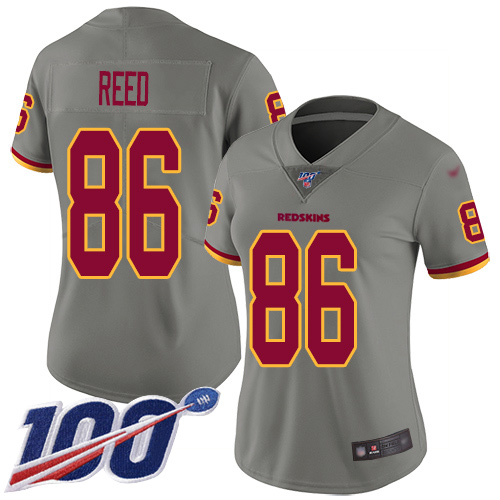 Washington Redskins Limited Gray Women Jordan Reed Jersey NFL Football 86 100th Season Inverted