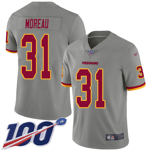 Washington Redskins Limited Gray Youth Fabian Moreau Jersey NFL Football 31 100th Season Inverted
