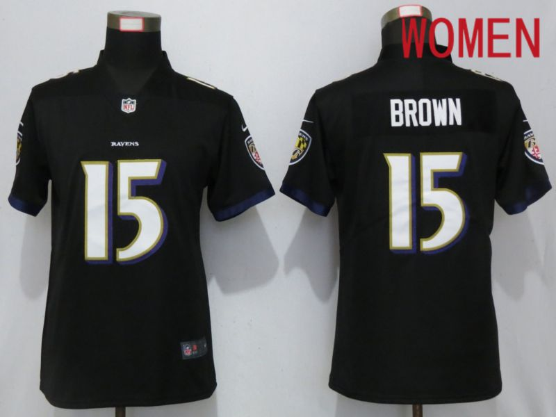 Women Baltimore Ravens 15 Brown Black Nike Vapor Untouchable Limited Playe NFL Jerseys
