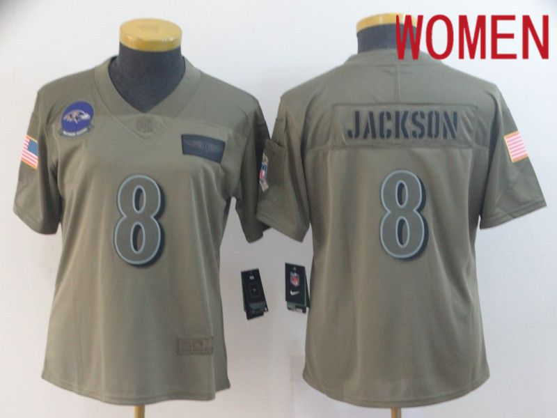 Women Baltimore Ravens 8 Jackson Nike Camo 2019 Salute to Service Limited NFL Jerseys