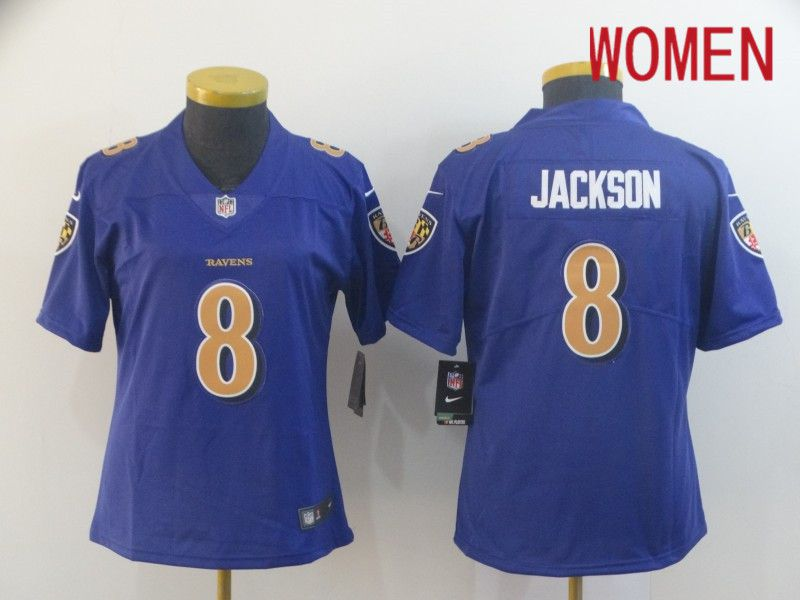 Women Baltimore Ravens 8 Jackson Purple Nike Vapor Untouchable Limited Player NFL Jerseys