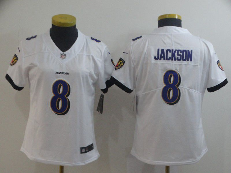 Women Baltimore Ravens 8 Jackson White Nike Vapor Untouchable Limited Player NFL Jerseys