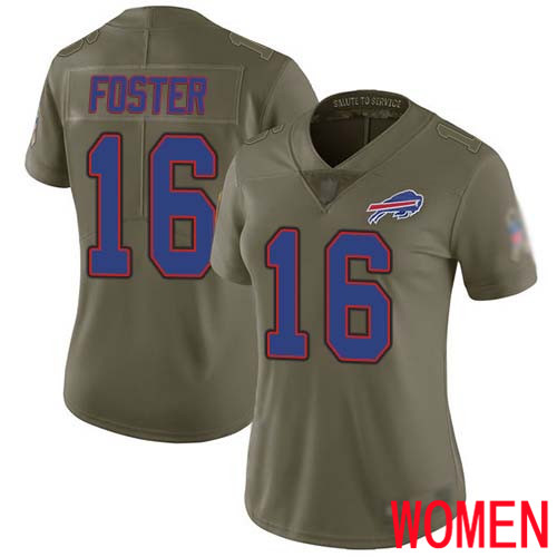 Women Buffalo Bills 16 Robert Foster Limited Olive 2017 Salute to Service NFL Jersey