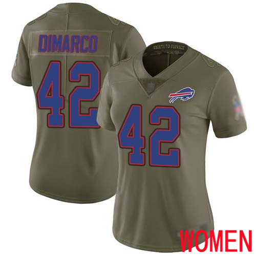 Women Buffalo Bills 42 Patrick DiMarco Limited Olive 2017 Salute to Service NFL Jersey