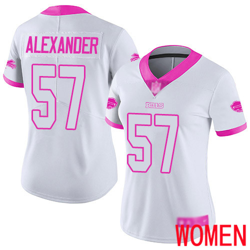 Women Buffalo Bills 57 Lorenzo Alexander Limited White Pink Rush Fashion NFL Jersey