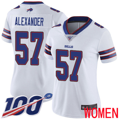 Women Buffalo Bills 57 Lorenzo Alexander White Vapor Untouchable Limited Player 100th Season NFL Jersey