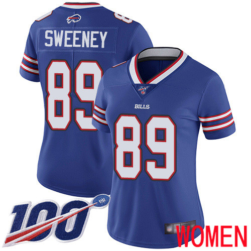 Women Buffalo Bills 89 Tommy Sweeney Royal Blue Team Color Vapor Untouchable Limited Player 100th Season NFL Jersey