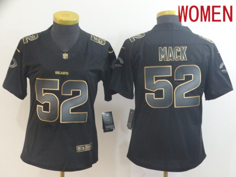 Women Chicago Bears 52 Mack Nike Vapor Limited Black Golden NFL Jerseys
