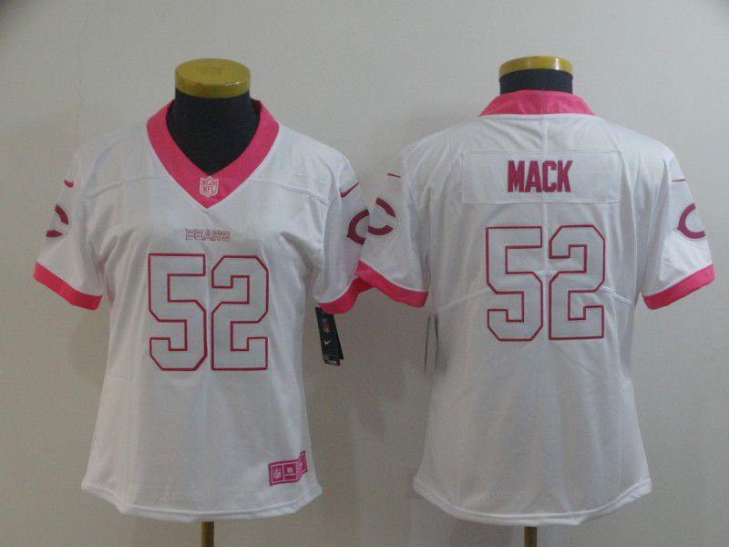 Women Chicago Bears 52 Mack white pink Nike Vapor Untouchable Limited Player NFL Jerseys