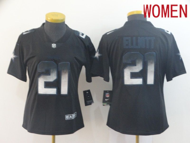 Women Dallas cowboys 21 Elliott Nike Teams Black Smoke Fashion Limited NFL Jerseys