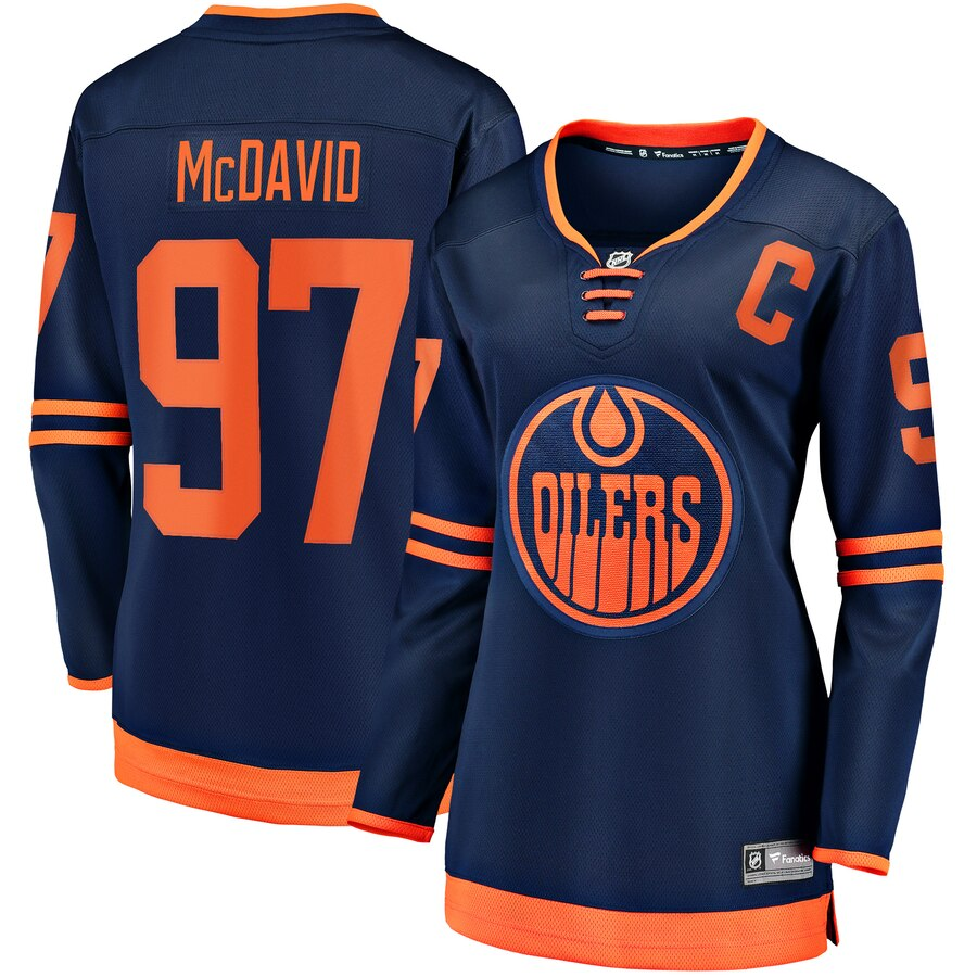 Women Edmonton Oilers 97 Connor McDavid Blue Home Stitched NHL Jersey