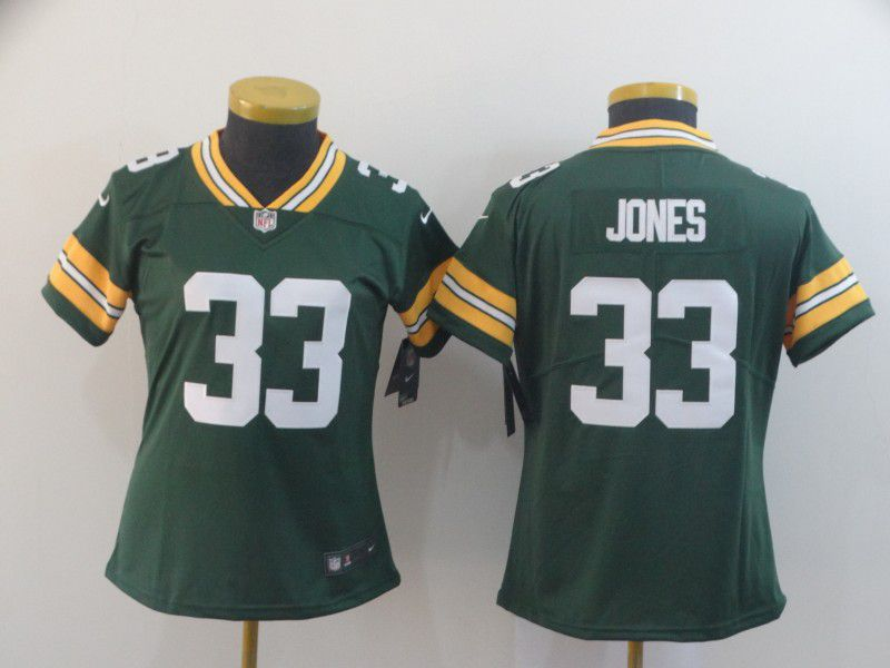 Women Green Bay Packers 33 Jones Green Nike Vapor Untouchable Limited Player NFL Jerseys