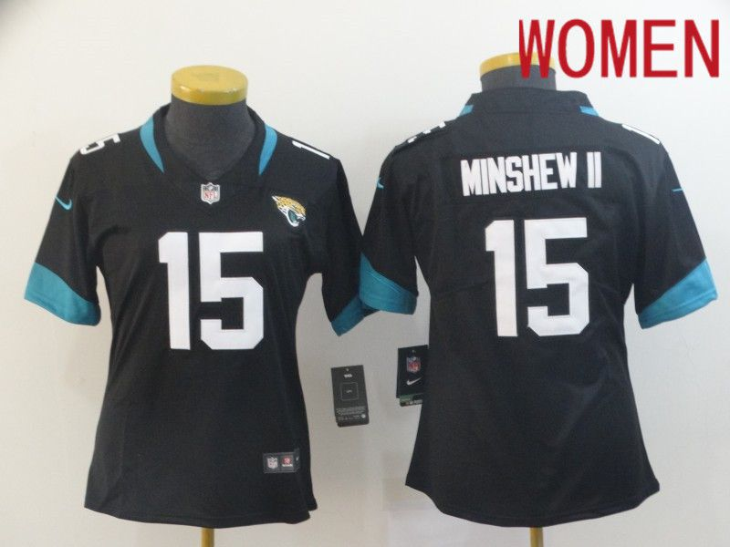 Women Jacksonville Jaguars 15 Minshew ii Black Nike Vapor Untouchable Limited Player NFL Jerseys