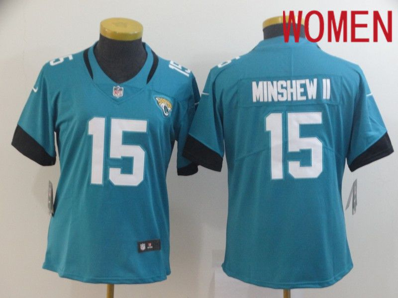 Women Jacksonville Jaguars 15 Minshew ii Green Nike Vapor Untouchable Limited Player NFL Jerseys