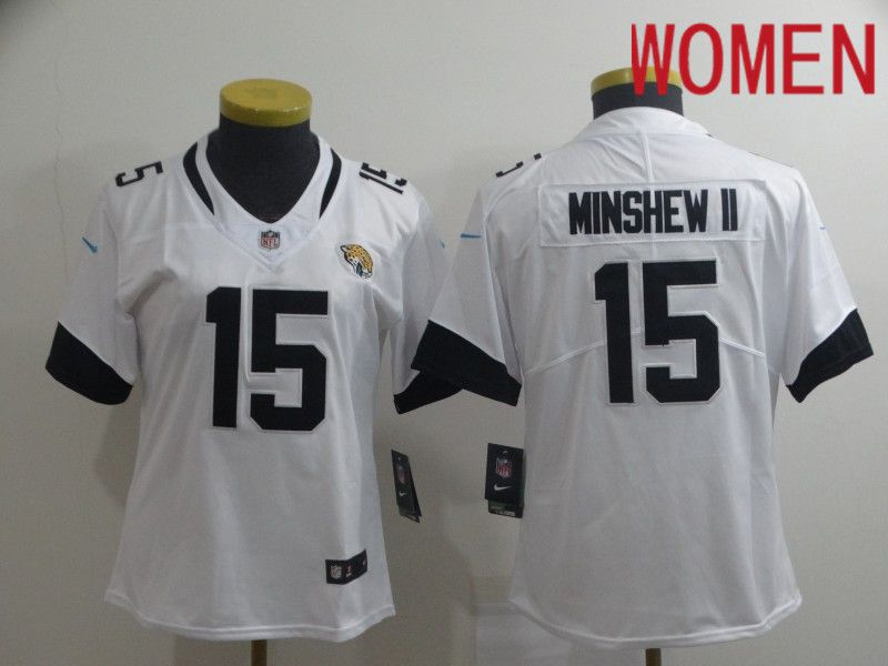 Women Jacksonville Jaguars 15 Minshew ii White Nike Vapor Untouchable Limited Player NFL Jerseys