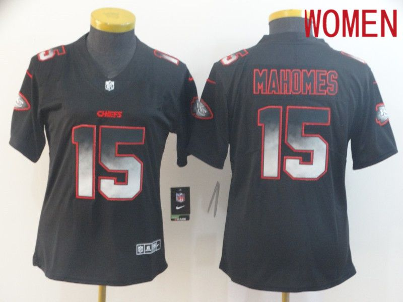 Women Kansas City Chiefs 15 Mahomes Nike Teams Black Smoke Fashion Limited NFL Jerseys