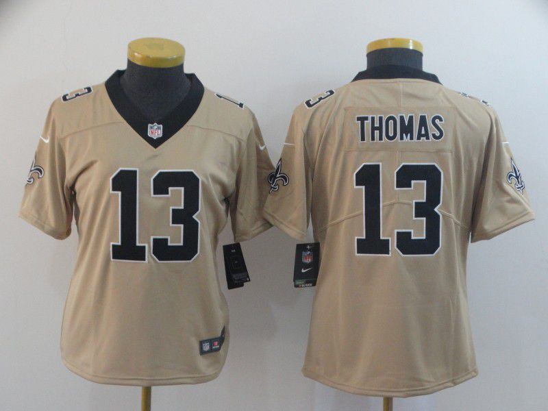 Women New Orleans Saints 13 Thomas yellow Nike Vapor Untouchable Limited Player NFL Jerseys