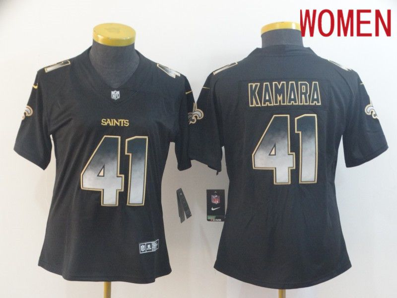Women New Orleans Saints 41 Kamara Nike Teams Black Smoke Fashion Limited NFL Jerseys