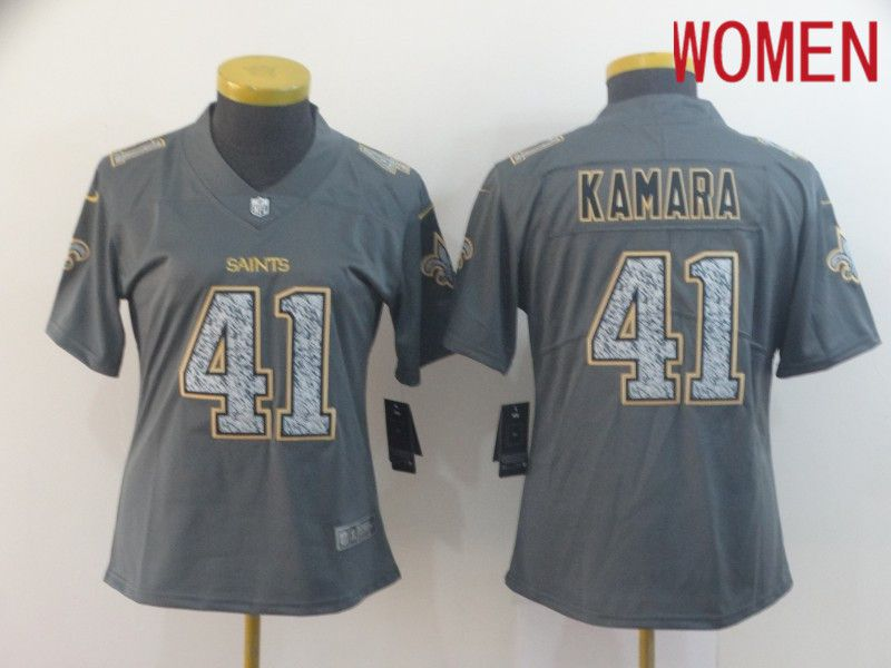 Women New Orleans Saints 41 Kamara Nike Teams Gray Fashion Static Limited NFL Jerseys