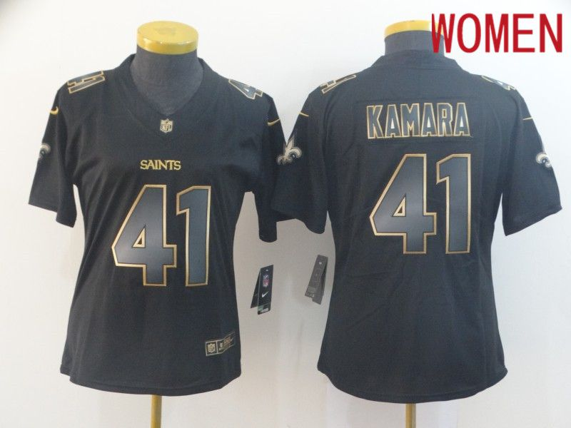 Women New Orleans Saints 41 Kamara Nike Vapor Limited Black Golden NFL Jerseys