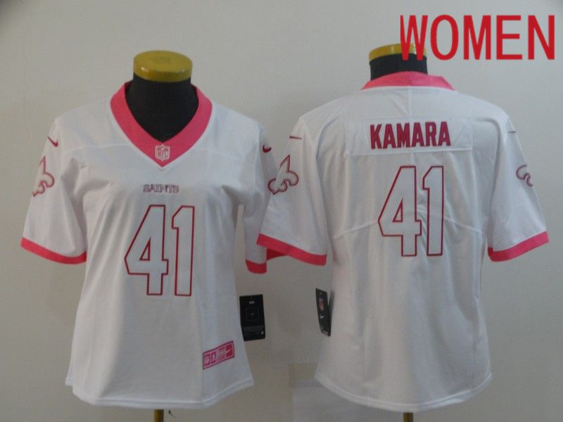 Women New Orleans Saints 41 Kamara White pink Nike Vapor Untouchable Limited Player NFL Jerseys