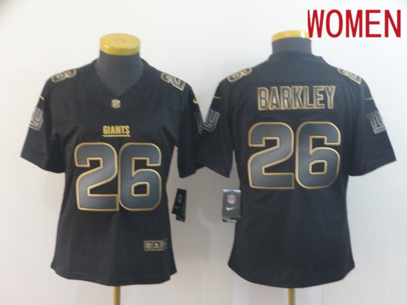 Women New York Giants 26 Barkley Nike Vapor Limited Black Golden NFL Jerseys