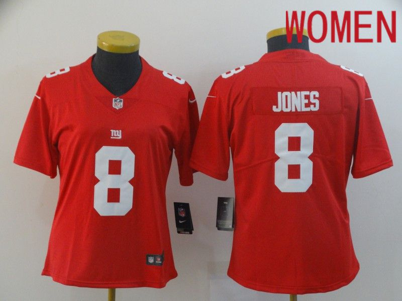 Women New York Giants 8 Jones Red Nike Vapor Untouchable Limited Player NFL Jerseys
