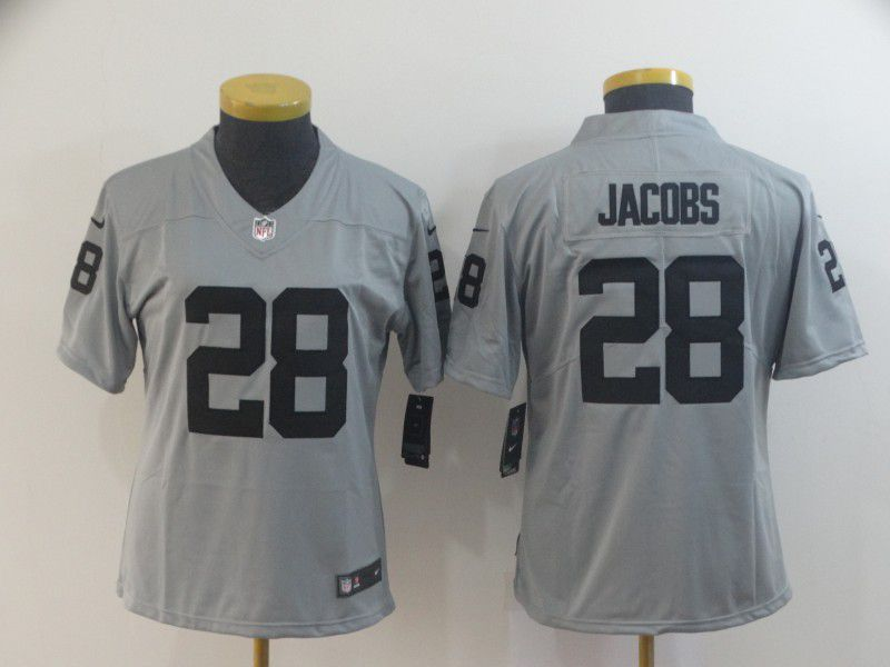 Women Oakland Raiders 28 Jacobs Grey Nike Vapor Untouchable Limited Player NFL Jerseys