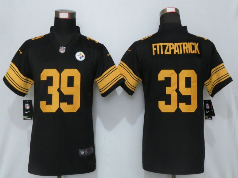 Women Pittsburgh Steelers 39 Fitzpatrick Navy Black Nike 2019 Color Rush Elite Jersey