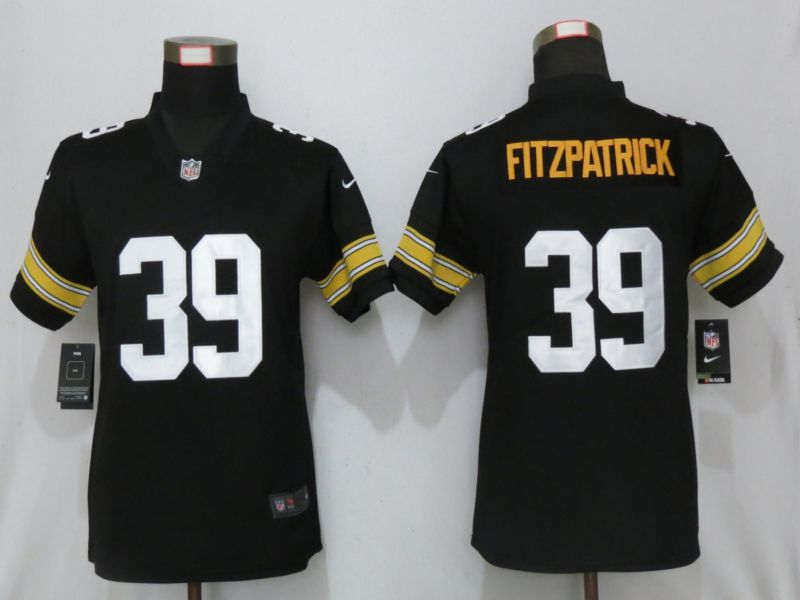 Women Pittsburgh Steelers 39 Fitzpatrick Nike Black Alternate Elite Jersey