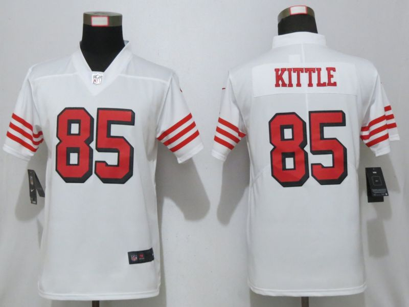 Women San Francisco 49ers 85 Kittle Nike White 2019 Color Rush Vapor Untouchable Elite Player Jersey