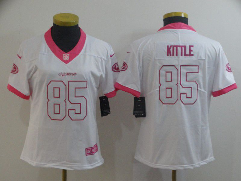 Women San Francisco 49ers 85 Kittle white pink Nike Vapor Untouchable Limited Player NFL Jerseys