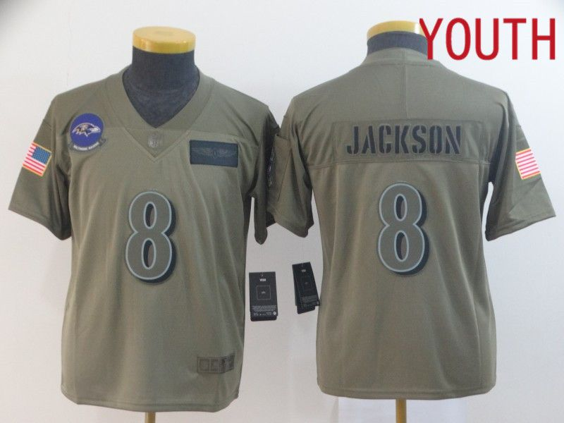 Youth Baltimore Ravens 8 Jackson Nike Camo 2019 Salute to Service Limited NFL Jerseys