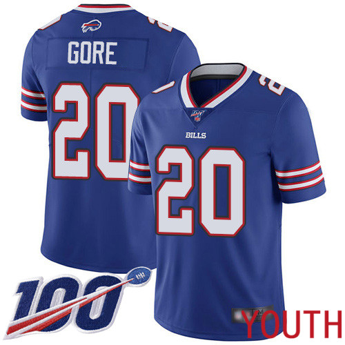 Youth Buffalo Bills 20 Frank Gore Royal Blue Team Color Vapor Untouchable Limited Player 100th Season NFL Jersey