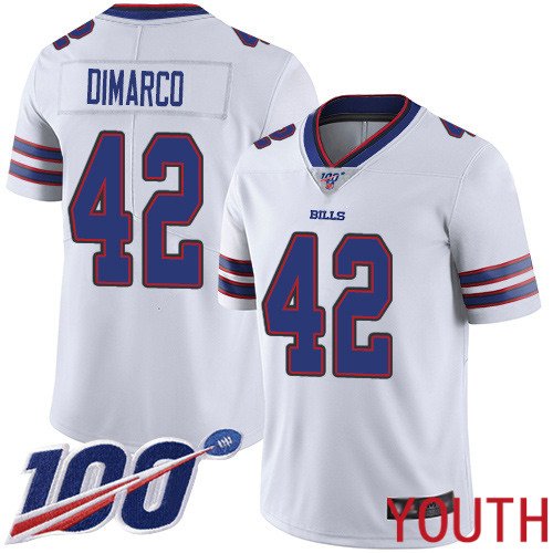 Youth Buffalo Bills 42 Patrick DiMarco White Vapor Untouchable Limited Player 100th Season NFL Jersey