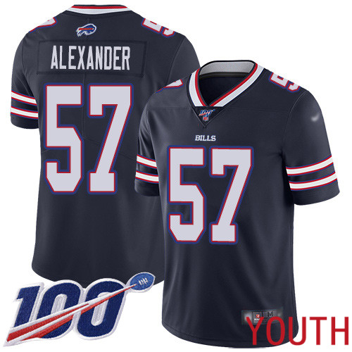 Youth Buffalo Bills 57 Lorenzo Alexander Limited Navy Blue Inverted Legend 100th Season NFL Jersey