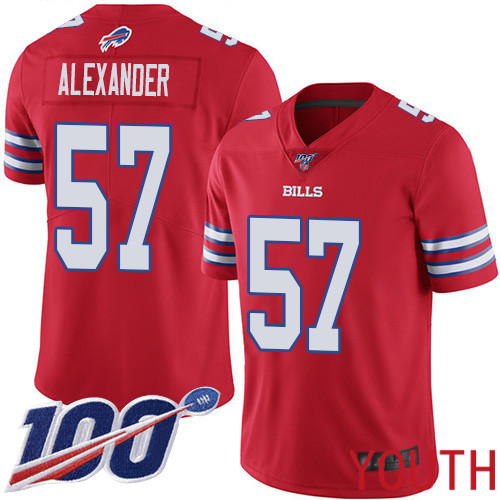 Youth Buffalo Bills 57 Lorenzo Alexander Limited Red Rush Vapor Untouchable 100th Season NFL Jersey
