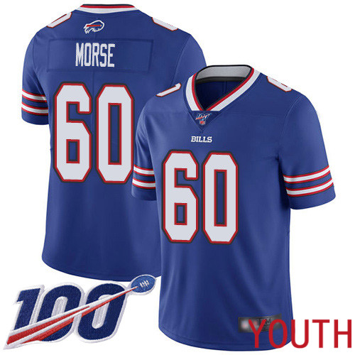 Youth Buffalo Bills 60 Mitch Morse Royal Blue Team Color Vapor Untouchable Limited Player 100th Season NFL Jersey