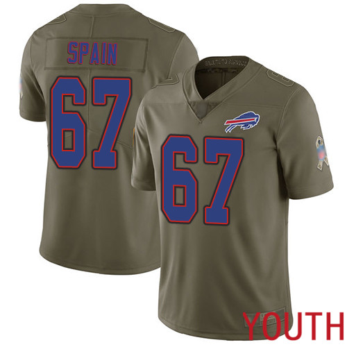 Youth Buffalo Bills 67 Quinton Spain Limited Olive 2017 Salute to Service NFL Jersey
