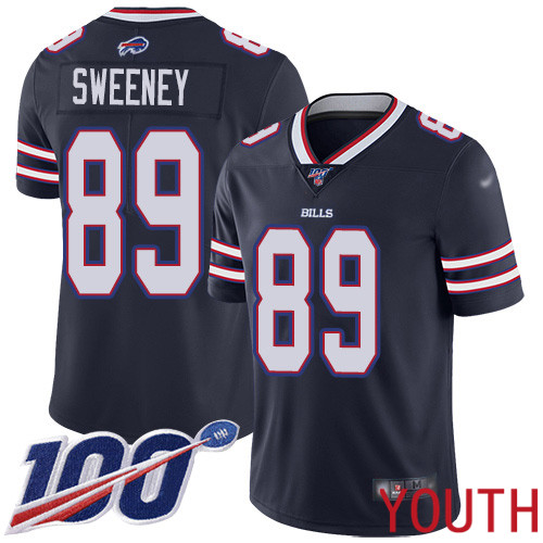 Youth Buffalo Bills 89 Tommy Sweeney Limited Navy Blue Inverted Legend 100th Season NFL Jersey