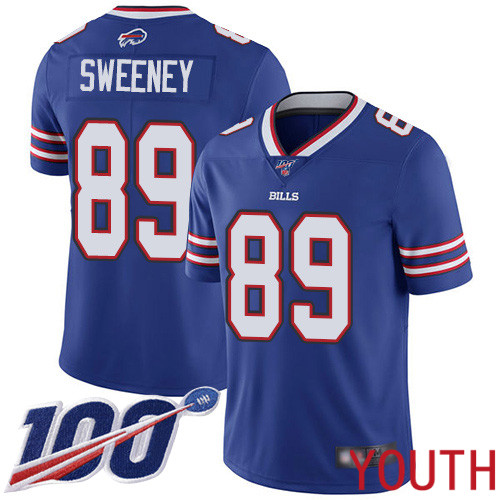 Youth Buffalo Bills 89 Tommy Sweeney Royal Blue Team Color Vapor Untouchable Limited Player 100th Season NFL Jersey