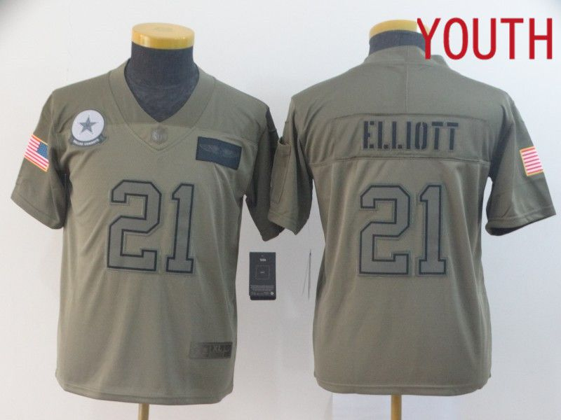Youth Dallas cowboys 21 Elliott Nike Camo 2019 Salute to Service Limited NFL Jerseys