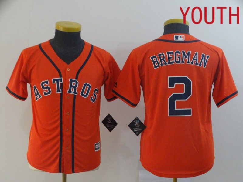 Youth Houston Astros 2 Bregman Orange MLB Jerseys