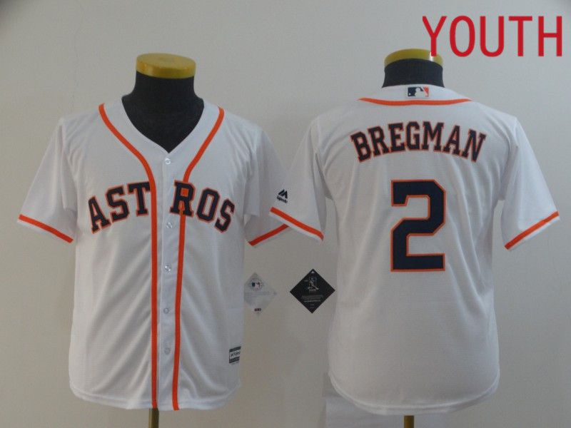 Youth Houston Astros 2 Bregman White MLB Jerseys
