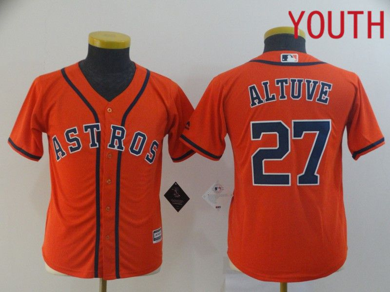 Youth Houston Astros 27 Altuve Orange MLB Jerseys