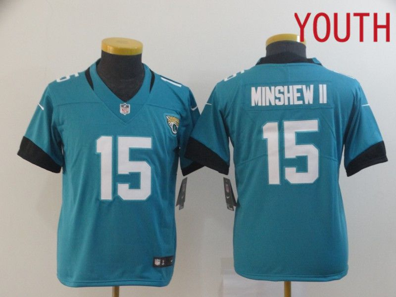 Youth Jacksonville Jaguars 15 Minshew ii Green Nike Vapor Untouchable Limited Player NFL Jerseys