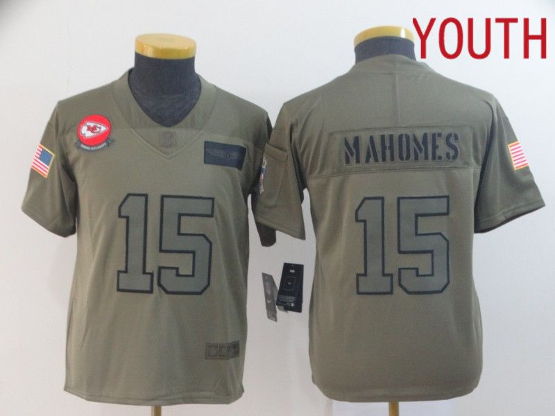 Youth Kansas City Chiefs 15 Mahomes Nike Camo 2019 Salute to Service Limited NFL Jerseys